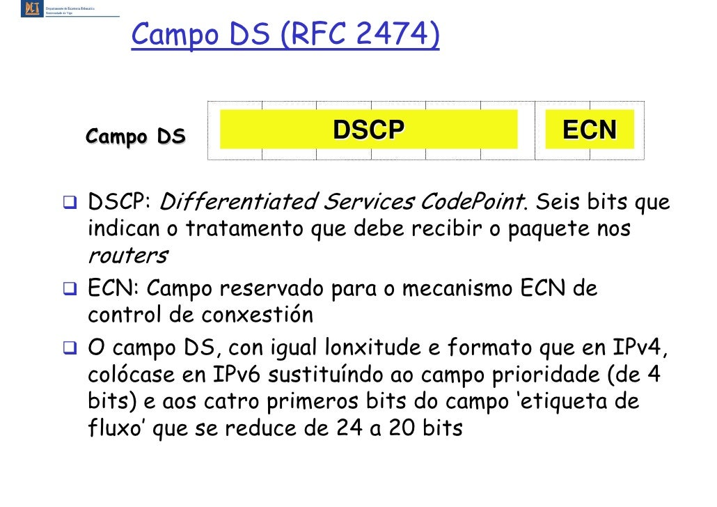 Campo DS (RFC 2474)   Campo DS              DSCP                  ECN  DSCP: Differentiated Services CodePoint. Seis bits ...