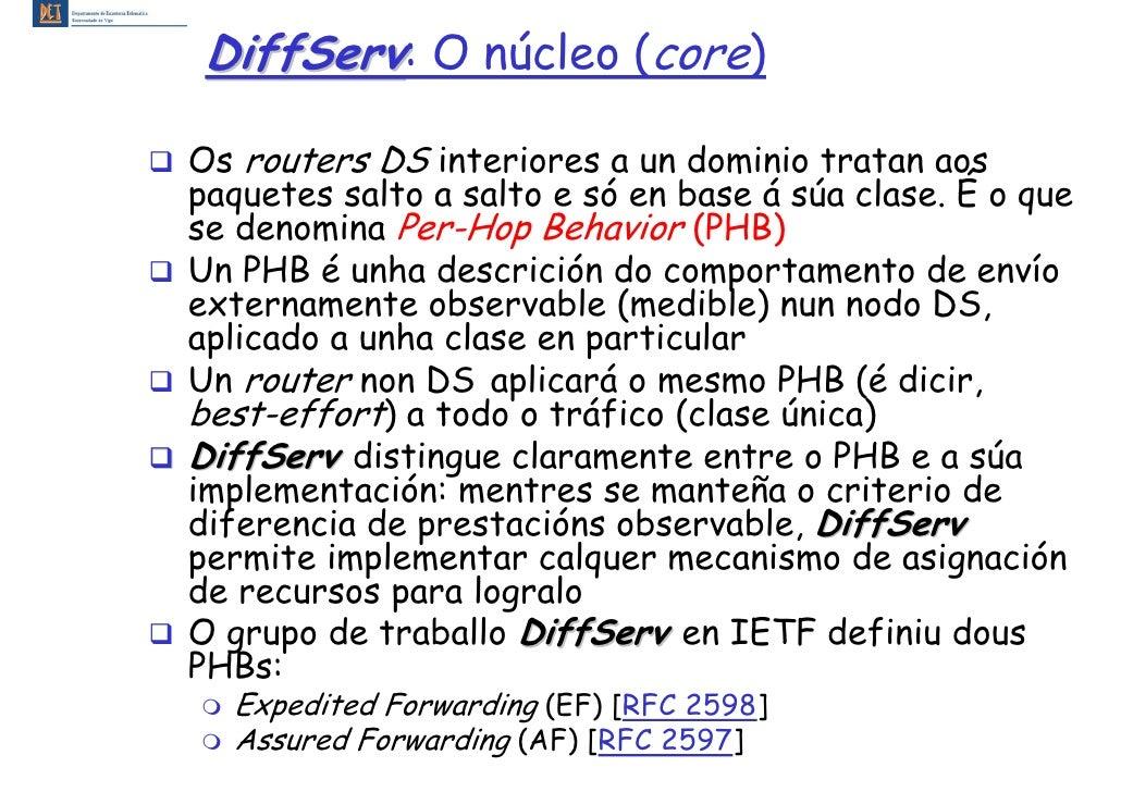 DiffServ: O núcleo (core)  Os routers DS interiores a un dominio tratan aos paquetes salto a salto e só en base á súa clas...