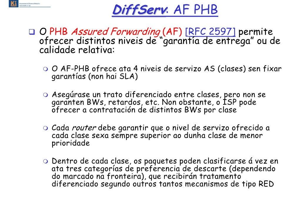 """DiffServ: AF PHB O PHB Assured Forwarding (AF) [RFC 2597] permite ofrecer distintos niveis de """"garantía de entrega"""" ou de ..."""