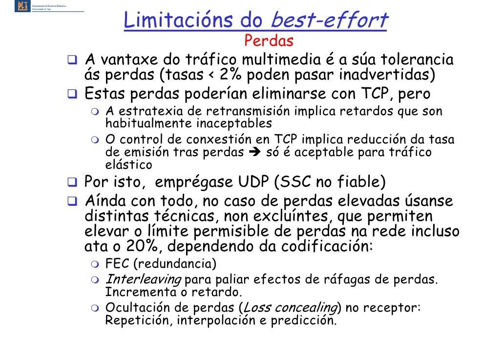 Limitacións do best-effort                       Perdas A vantaxe do tráfico multimedia é a súa tolerancia ás perdas (tasa...