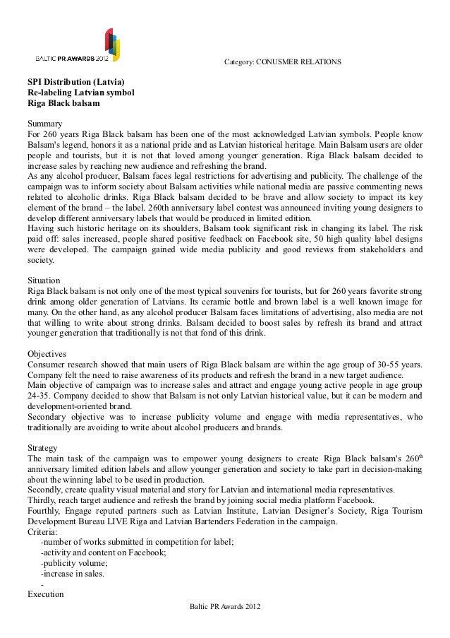 Category: CONUSMER RELATIONSSPI Distribution (Latvia)Re-labeling Latvian symbolRiga Black balsamSummaryFor 260 years Riga ...