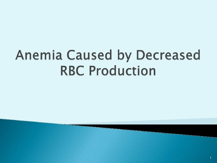Anemia Caused by Decreased RBC Production<br />1<br />