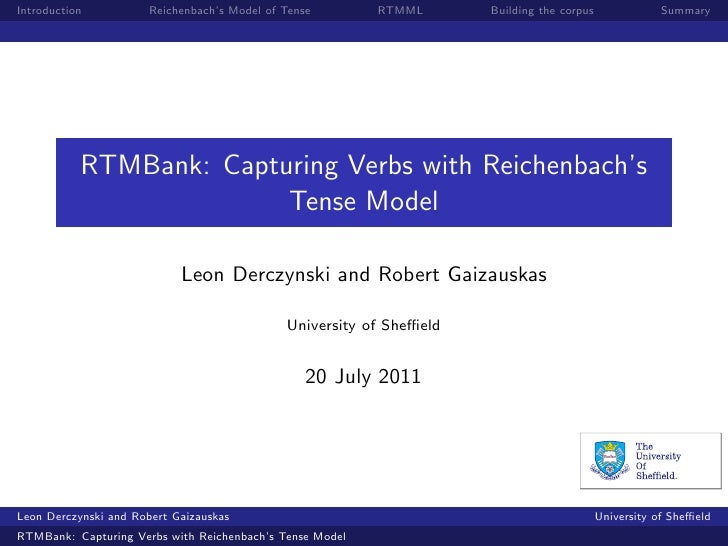 Introduction           Reichenbach's Model of Tense       RTMML       Building the corpus              Summary           R...