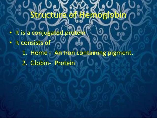Heme part- Structure  • It consists of  1. Iron – Ferrous form(Fe++)  2. Porphyrin – Pigment part