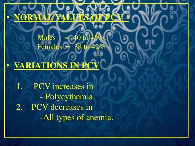 HEMATOCRIT VALUES