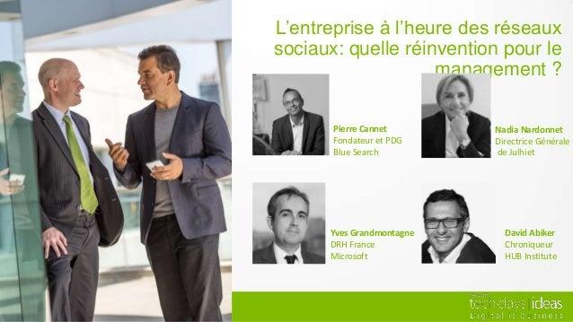 L'entreprise à l'heure des réseauxsociaux: quelle réinvention pour le                    management ?       Pierre Cannet ...