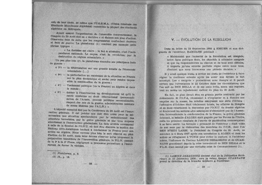 Rébellion en algérie et guerre révolutionnaire