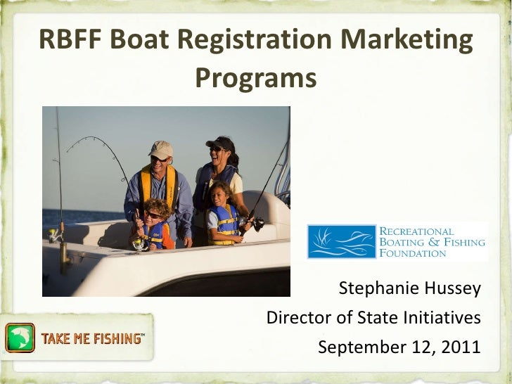 RBFF Boat Registration Marketing Programs <ul><li>Stephanie Hussey </li></ul><ul><li>Director of State Initiatives </li></...