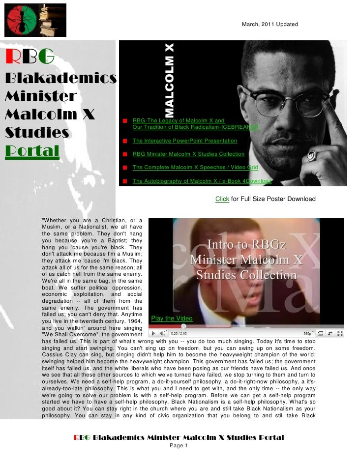 March, 2011 UpdatedRBGBlakademicsMinisterMalcolm X                             RBG-The Legacy of Malcolm X andStudies     ...