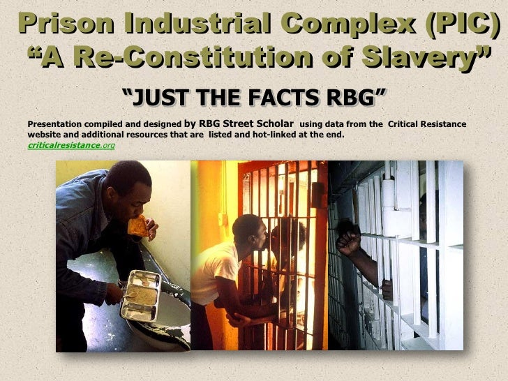 "Prison Industrial Complex (PIC) ""A Re-Constitution of Slavery""                         ""JUST THE FACTS RBG""Presentation co..."