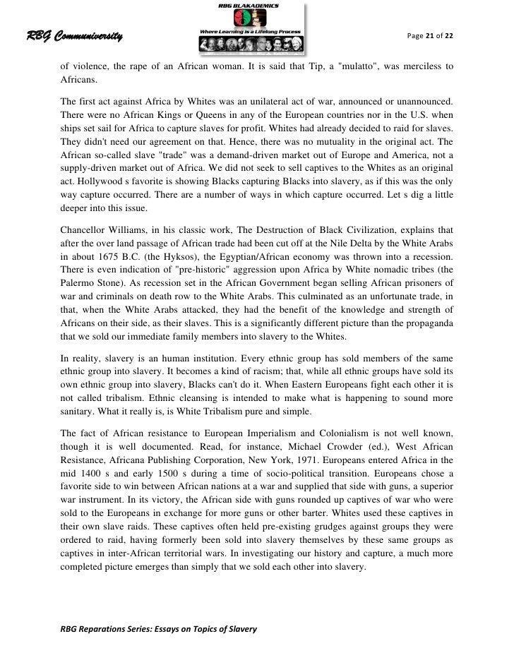 slavery outline essay