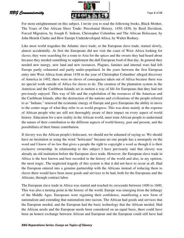slavery essays