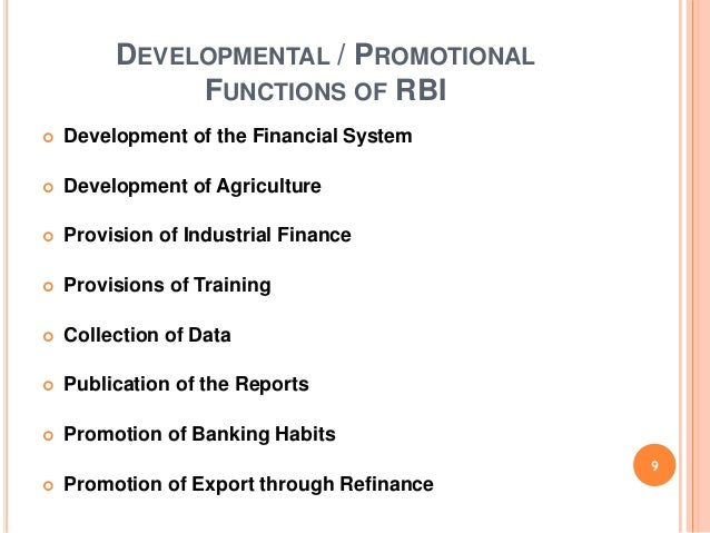 development role of rbi Here this hub is about the major functions of of rbi in india as the apex  in fact,  reserve bank of india aims to achieve a developed society.