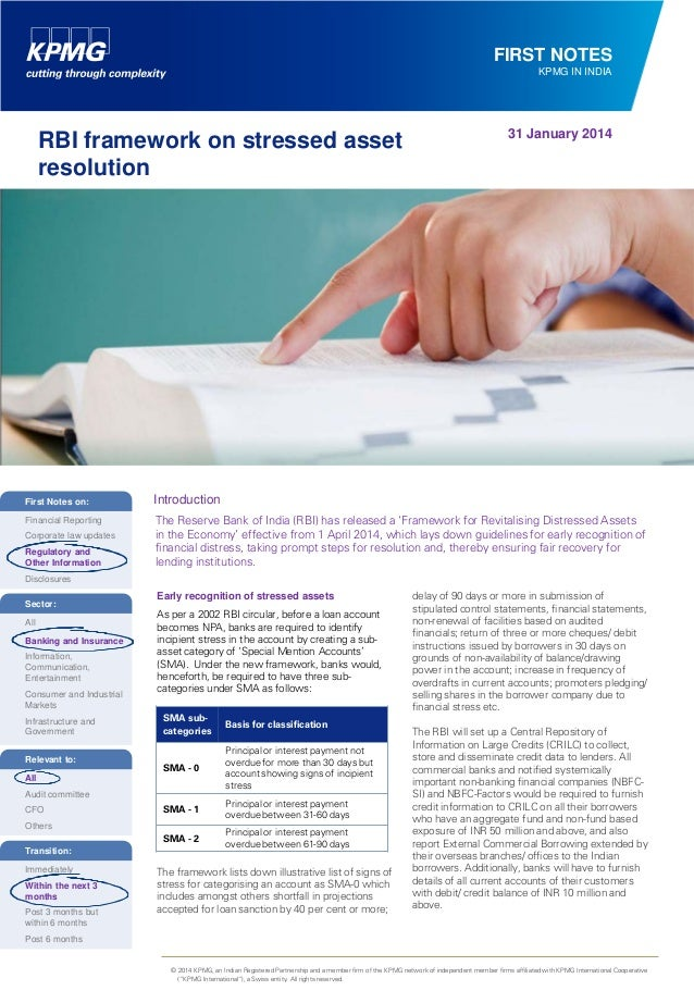 FIRST NOTES KPMG IN INDIA  RBI framework on stressed asset resolution  31 January 2014  First Notes on:  Introduction  Fin...
