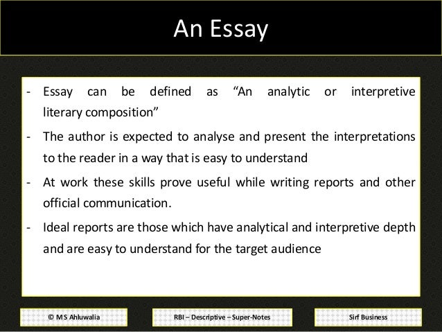 Essay precis writing comprehension and business/office correspondence