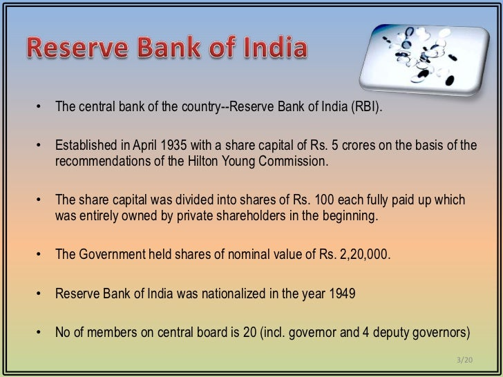 monetary and credit policy of rbi Reserve bank of india (rbi) is indias central bank it plays multi-facet role by executing multiple functions such as overseeing monetary policy, issuing currency.