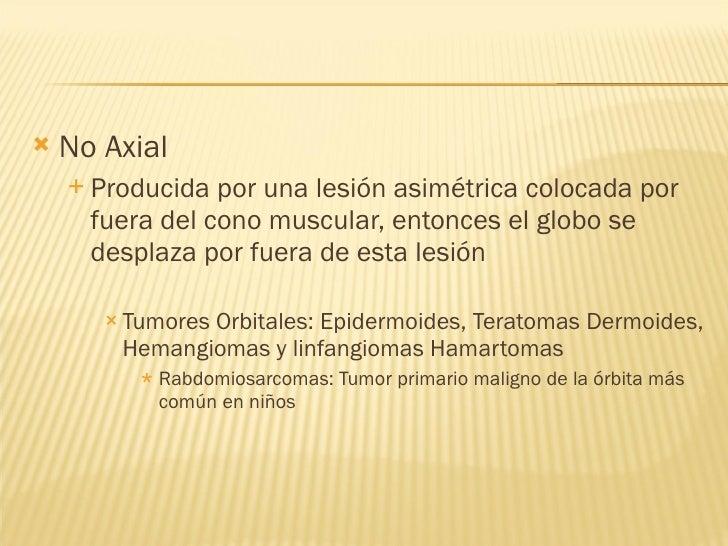 <ul><li>No Axial </li></ul><ul><ul><li>Producida por una lesión asimétrica colocada por fuera del cono muscular, entonces ...