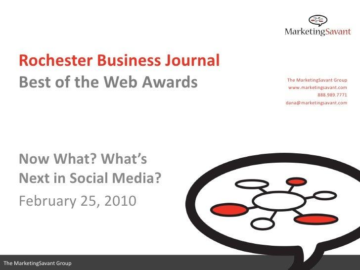 Rochester Business Journal      Best of the Web Awards        The MarketingSavant Group                                   ...