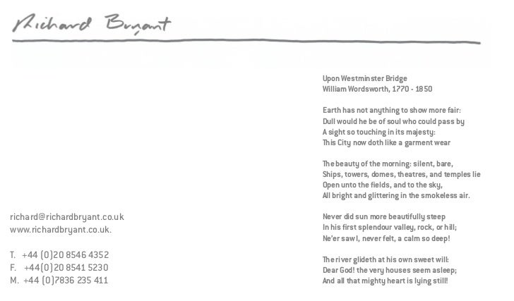 Upon Westminster Bridge                              William Wordsworth, 1770 - 1850                              Earth ha...