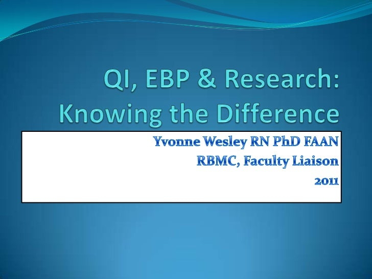 QI, EBP & Research: Knowing the Difference<br />Yvonne Wesley RN PhD FAAN<br />RBMC, Faculty Liaison<br />2011<br />