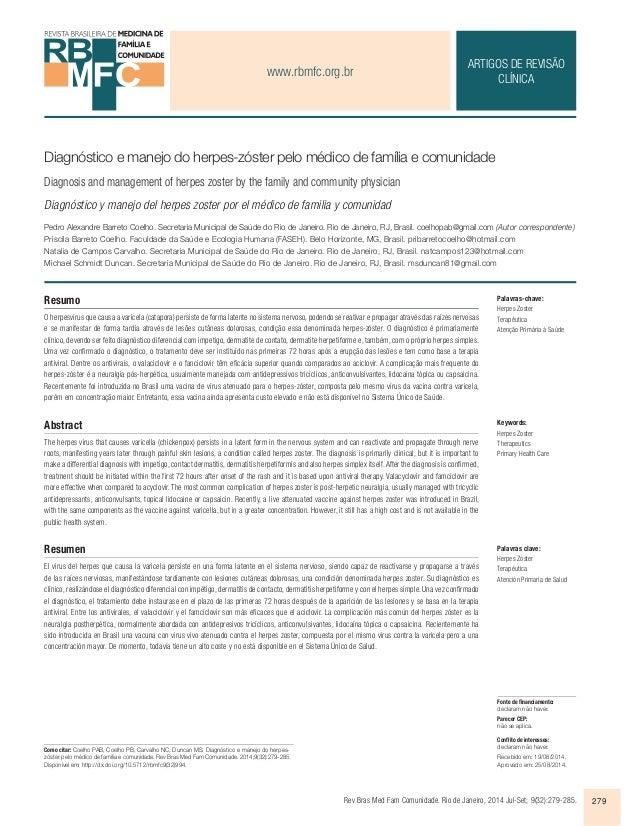 www.rbmfc.org.br  ARTIGOS DE REVISÃO  Diagnóstico e manejo do herpes-zóster pelo médico de família e comunidade  Diagnosis...