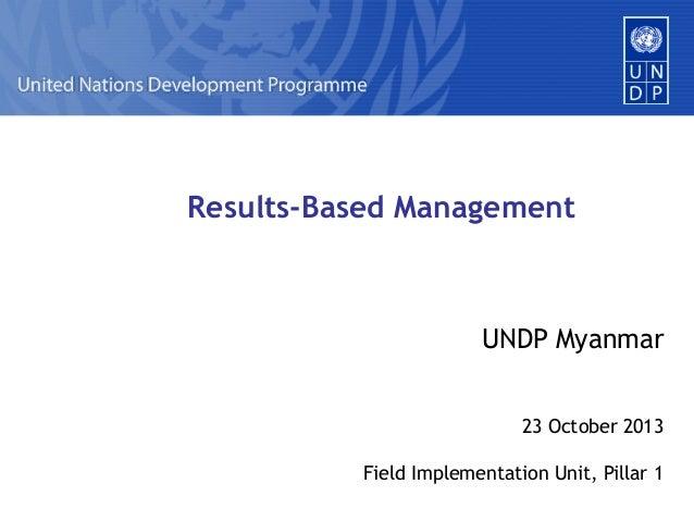 Results-Based Management  UNDP Myanmar 23 October 2013 Field Implementation Unit, Pillar 1