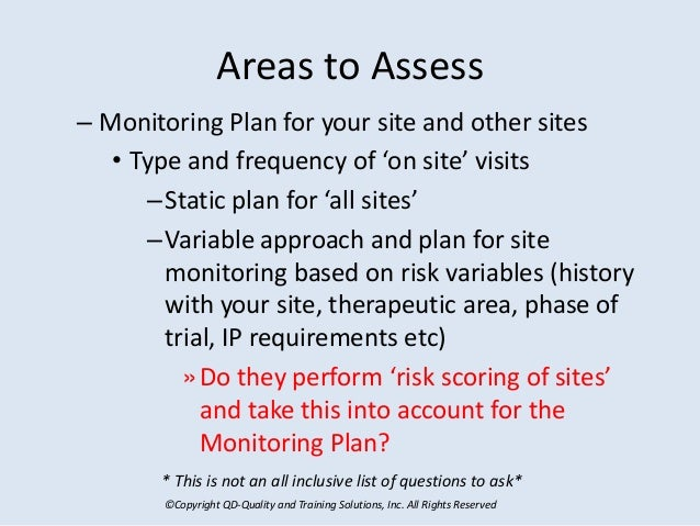 ©Copyright QD-Quality and Training Solutions, Inc. All Rights Reserved Areas to Assess – Monitoring Plan for your site and...