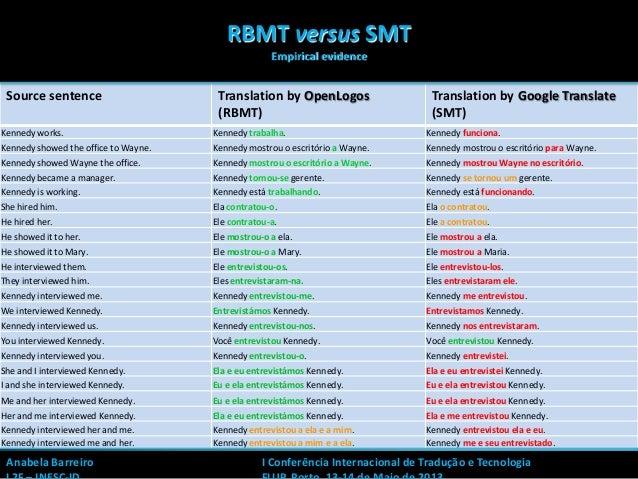 1Source sentence Translation by OpenLogos(RBMT)Translation by Google Translate(SMT)Kennedy works. Kennedy trabalha. Kenned...