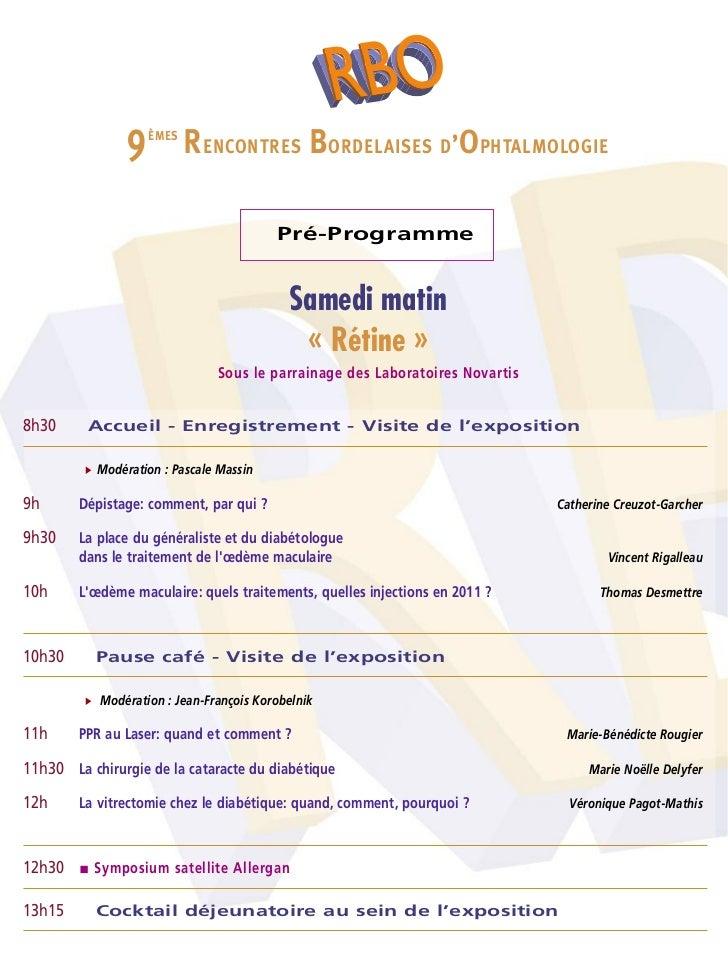 Rencontres bordelaises d'ophtalmologie 2018