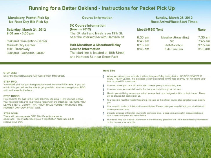 Running for a Better Oakland - Instructions for Packet Pick Up    Mandatory Packet Pick Up                                ...