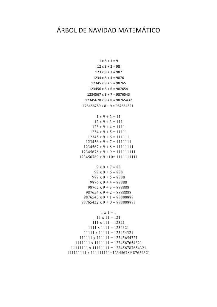 ÁRBOL DE NAVIDAD MATEMÁTICO                     1x8+1=9                 12 x 8 + 2 = 98                123 x 8 + 3 = 987  ...