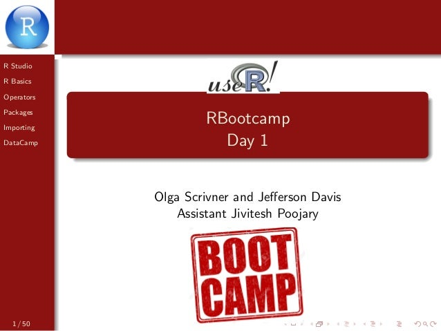 R Studio R Basics Operators Packages Importing DataCamp RBootcamp Day 1 Olga Scrivner and Jefferson Davis Assistant Jivites...