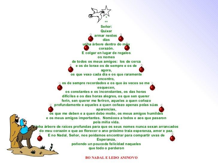 * ** Señor: Quixer armar nestes  días unha árbore dentro do meu corazón. E colgar en lugar de regalos os nomes de todos os...