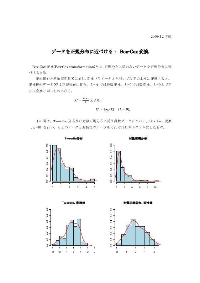 2009.12 作成            データを正規分布に近づける: Box-Cox 変換 Box-Cox 変換(Box-Cox transformation)とは、正規分布に従わないデータを正規分布に近づける方法。  正の値をとる確率変数...