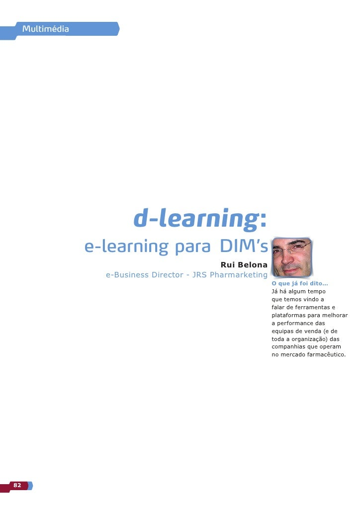Multimédia                               d-learning:                   e-learning para DIM's                              ...