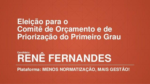 Eleição para o Comitê de Orçamento e de Priorização do Primeiro Grau Candidato: RENÊ FERNANDES Plataforma: MENOS NORMATIZA...