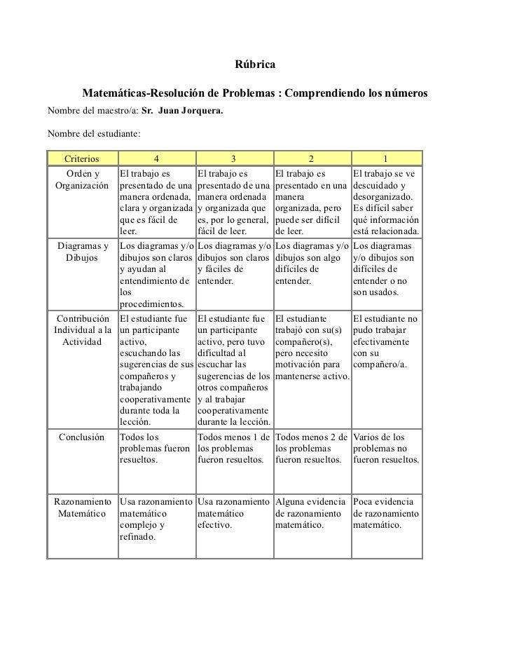 Rúbrica        Matemáticas-Resolución de Problemas : Comprendiendo los númerosNombre del maestro/a: Sr. Juan Jorquera.Nomb...
