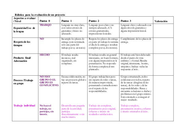Rúbrica para la evaluación de un proyecto Aspectos a evaluar / Nivel Puntos 0 Puntos 1 Puntos 2 Puntos 3 Valoración Exposi...