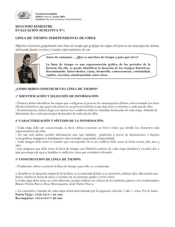 COLEGIO PALMARÉS                Subject: History Grade: NM2                Teachers: Ma. José González/ Claudia Retamal.SE...