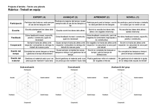 Projecte d'àmbits - Tenim uns plànols Rúbrica-Treballenequip EXPERT(4) AVANÇAT(3) APRENENT(2) NOVE...