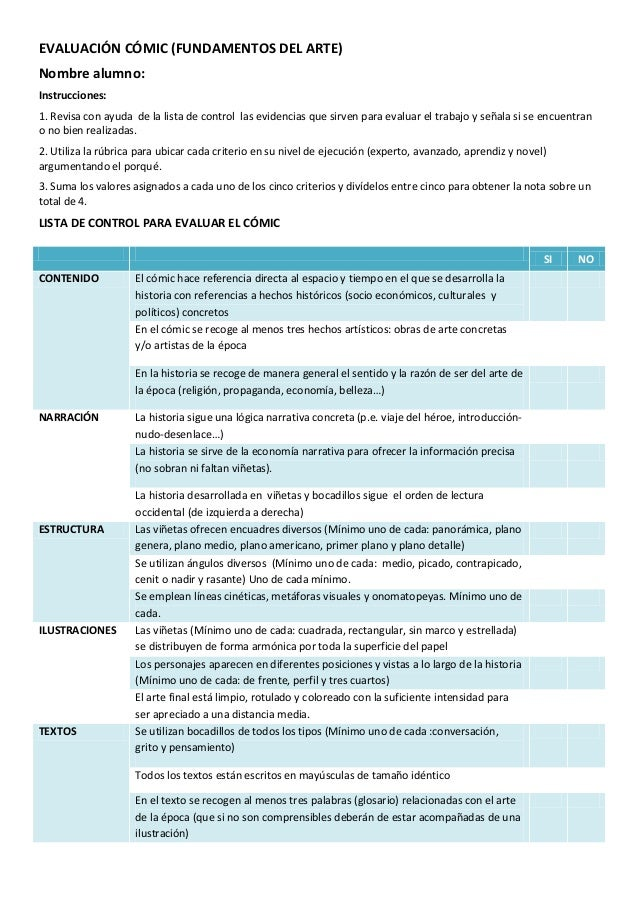 EVALUACIÓN CÓMIC (FUNDAMENTOS DEL ARTE) Nombre alumno: Instrucciones: 1. Revisa con ayuda de la lista de control las evide...