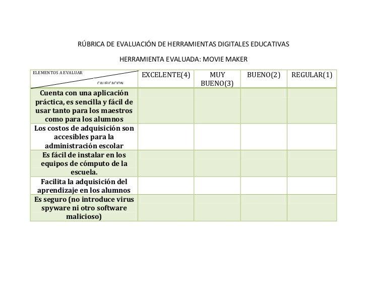 RÚBRICA DE EVALUACIÓN DE HERRAMIENTAS DIGITALES EDUCATIVAS                                HERRAMIENTA EVALUADA: MOVIE MAKE...