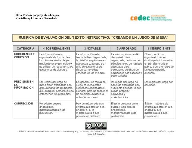 """REA Trabajo por proyectos.Lengua Castellana y Literatura. Secundaria """"Rúbrica de evaluación del texto instructivo: creamos..."""