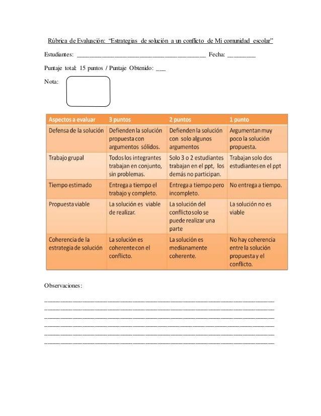 """Rúbrica de Evaluación: """"Estrategias de solución a un conflicto de Mi comunidad escolar""""  Estudiantes: ____________________..."""