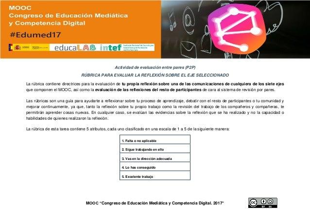 """MOOC """"Congreso de Educación Mediática y Competencia Digital. 2017"""" Actividad de evaluación entre pares (P2P) RÚBRICA PARA ..."""