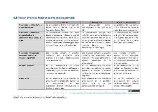 """Rúbrica de evaluación P2P - UNIDAD 1 - MOOC """"Uso educativo de la Narración Digital"""" Slide 2"""