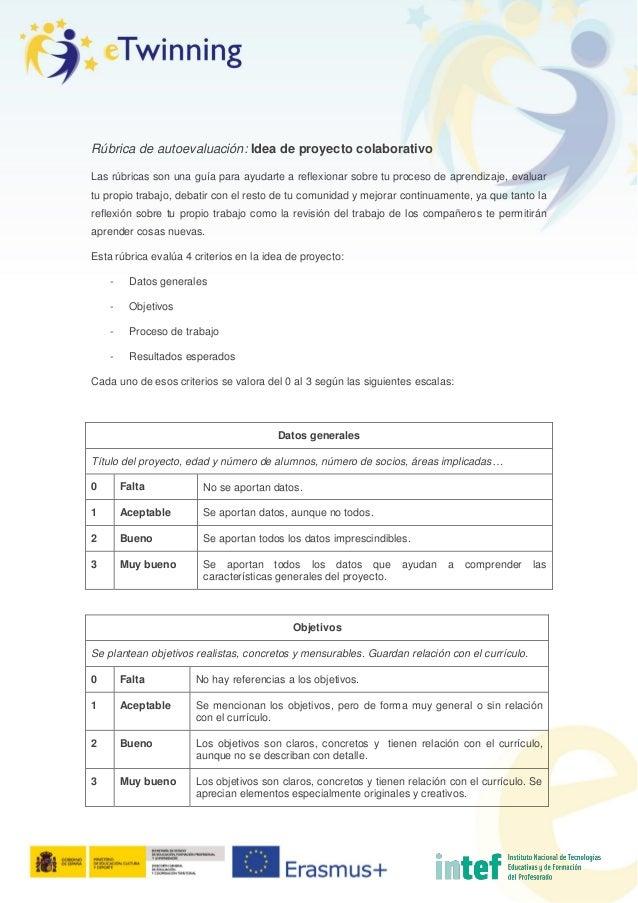 Rúbrica de autoevaluación: Idea de proyecto colaborativo Las rúbricas son una guía para ayudarte a reflexionar sobre tu pr...