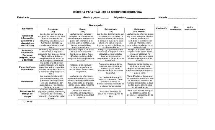 RÚBRICA PARA EVALUAR LA SESIÓN BIBLIOGRÁFICAEstudiante:                                                                 Gr...