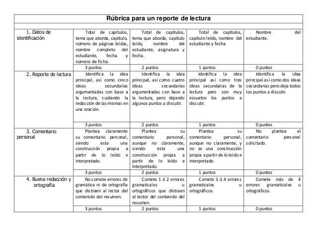 Rúbrica para un reporte de lectura 1. Datos de identificación Total de capítulos, tema que aborda, capítulo, número de pág...