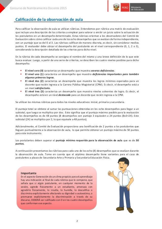 Rúbricas de calificación para la observación de aula   nombramiento docente etapa descentralizada Slide 2